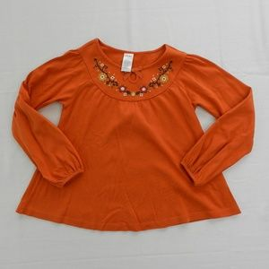 Girls Gymboree Size 7 LS Swing Shirt Orange Fall